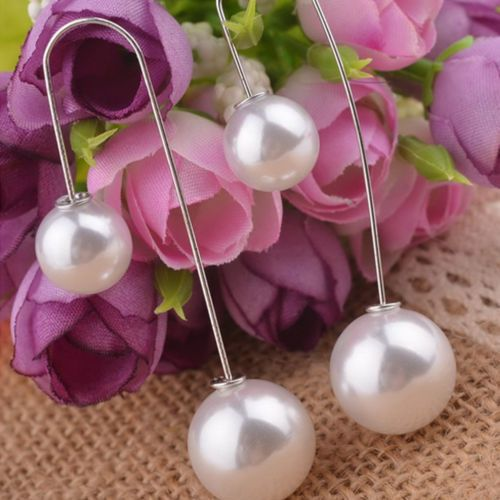 Latest Fashion Double sided White Pearl U - Hook changeable Drop Long Earrings #LongEarrings