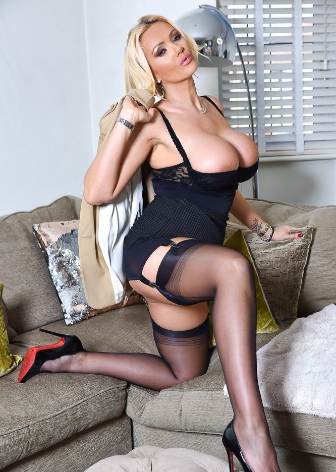 Consider, that Busty blonde black stockings and high heels apologise