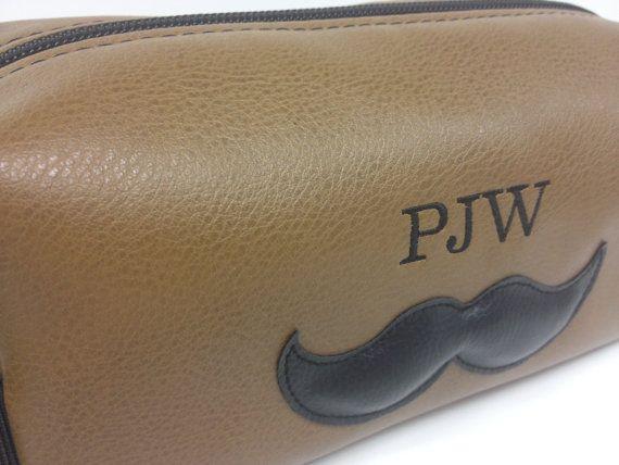 gift for groomsmen.... Personalized Mustache Toiletry Bag Dopp Kit by FelixStreetStudio, $40.00