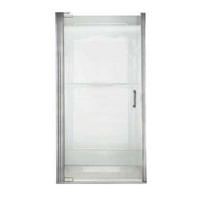 Euro 35-1/8 in. x 65-9/16 in. Semi-Framed Shower Door in Silver with Clear Glass