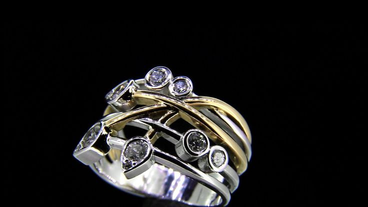 'Brook Wave Ring Rose' Signature Wave Ring Handmade 18ct Rose&White Gold Brilliant Cut Diamonds.