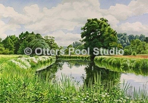 """Early Summer River Wey"" by Martin Hayes.  Limited Edition Fine Art Prints from an original waterolour. Limited Edition of 60 prints Image Size: 380 x 270 mm approx."
