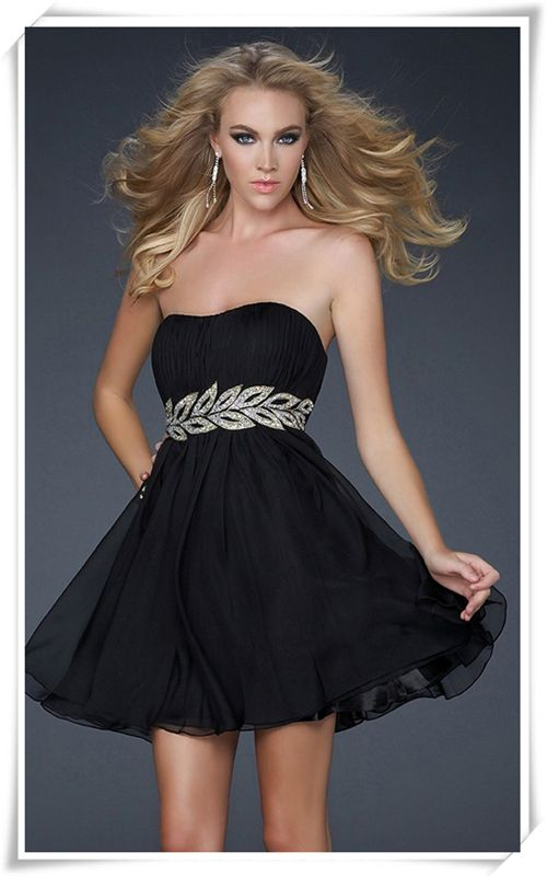 Black Strapless Ruched Short Vine Homecoming Dress 2013 Dresses