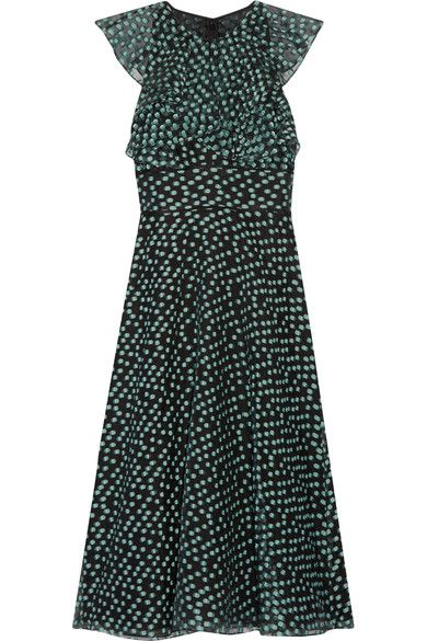 Black and mint fil coupé organza Concealed hook and zip fastening at back 77% polyester, 12% silk, 11% polyamide; trim: 100% silk; lining: 100% polyamide Dry clean Designer color: Seafoam