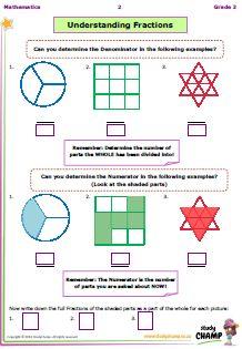 Worksheets - Grade 3 - Numeracy : Grade 3 - Understanding Fractions