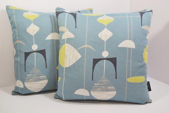 Sanderson Mobiles Mid Century Atomic cushion cover - Slate Grey/Blue