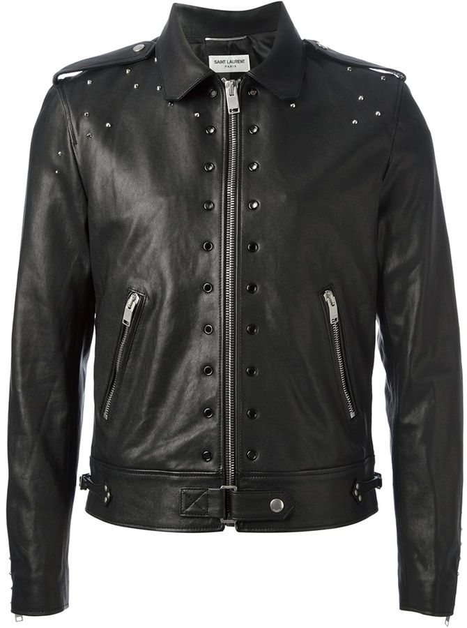 $4,468, Black Embellished Leather Biker Jacket: Saint Laurent Studded Leather Jacket. Sold by farfetch.com. Click for more info: http://lookastic.com/men/shop_items/32993/redirect