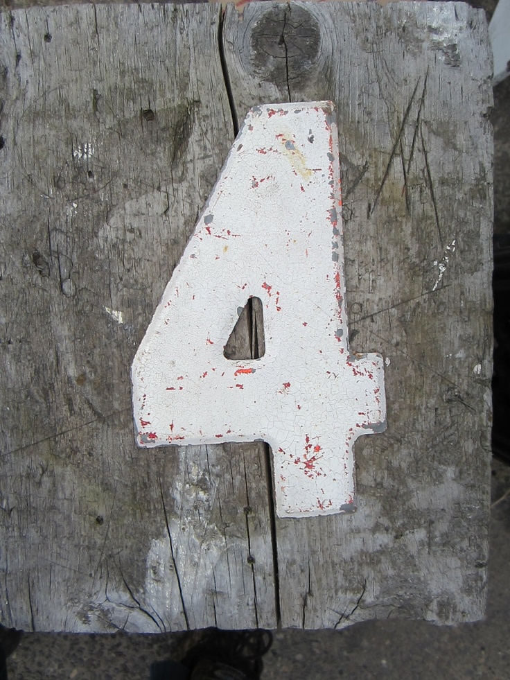 Vintage Metal Chippy Number 4 Sign Painted Antique Marquee Rusted Metal Sign.