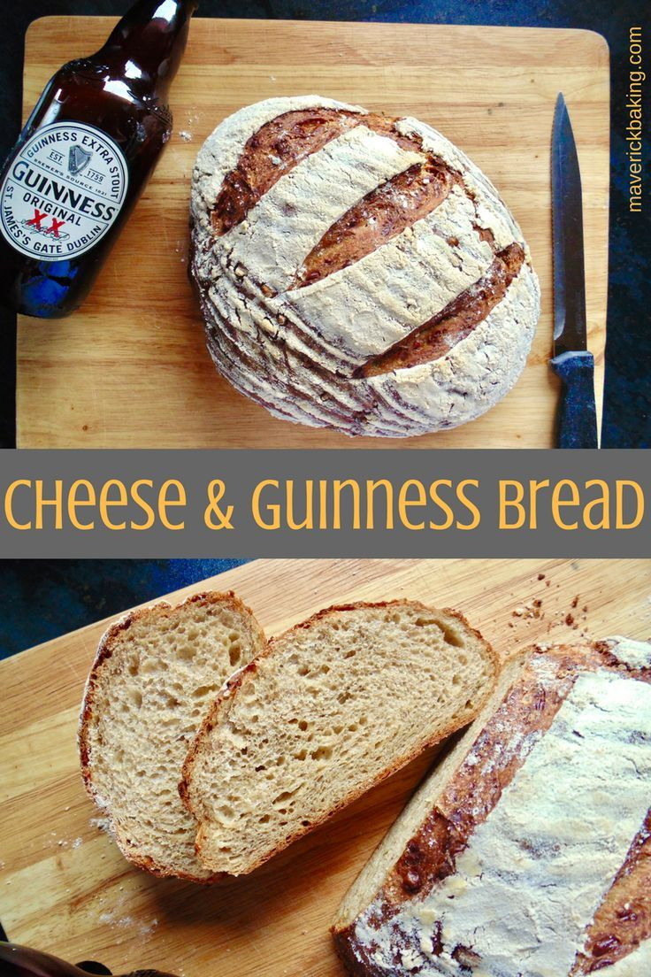 Cheese and Guinness Bread; rich and tasty beer and cheese bread, made with everyone's favourite Irish stout and some strong English cheddar, perfect for soups, lunch platters or rustic sandwiches.