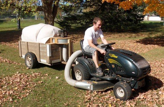 Leaf Vacuum trailer.  Absolutely wonderful IDEA!