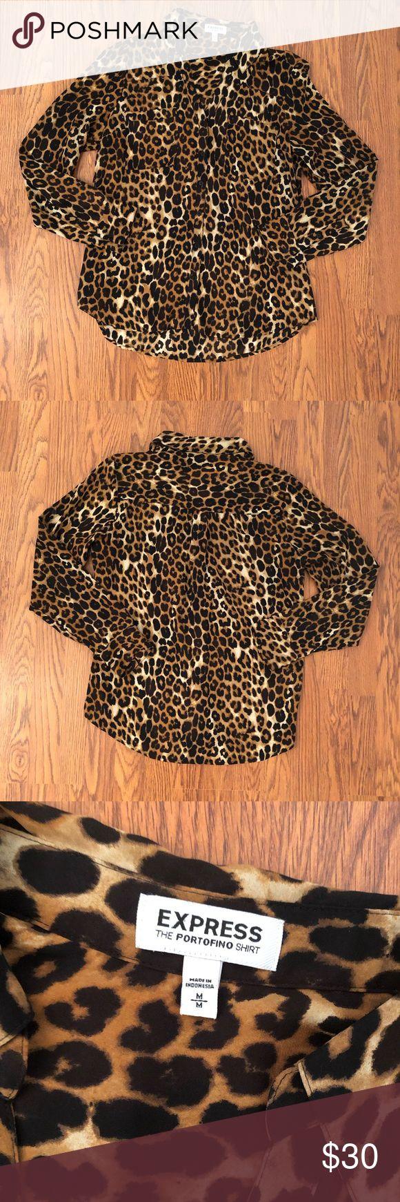 Express | Cheetah Print Portofino Shirt Size M Express | Cheetah Print Portofino…