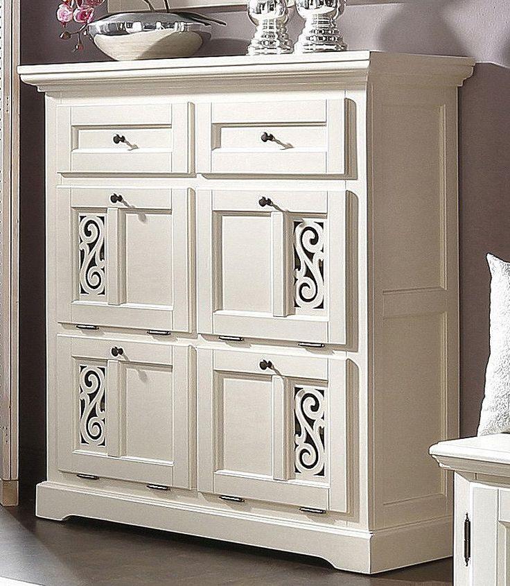 Details:  4 Klappen, 2 Schubkästen, Schubkasteninnenmaße (B/T/H): ca. 40,5/26,5/11,5 cm, Laufleisten der Schubkästen aus Metall, 4 feste Böden, FSC®-zertifiziert, Mit aufwendig herausgearbeiteten Ornamenten, Cremefarben lackiert,  Gesamtmaße (B/T/H):  115/39/115 cm,  Material:  FSC®-zertifiziertes teilmassives Holz, Aus teilmassiver Linde, Griffe, Scharniere und Laufleisten aus Metall,  Informa...