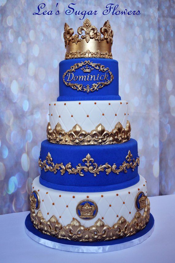 Prime 4 Tier Prince Fake Cake Covered With Fondant Cake Dummy Photo Personalised Birthday Cards Bromeletsinfo