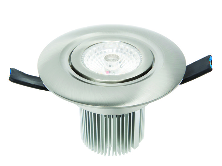 Luxor LED Round Gimbal Downlight 12w in Brushed Nickel