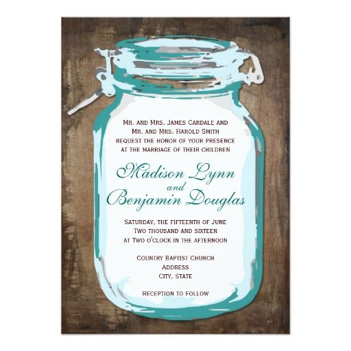 """<a href=""""http://www.zazzle.com/rusticcountrywedding/products/cg-196378530086750225?ps=120&rf=238133515809110851&tc=SeeAllButton""""><img src=""""http://dabuttonfactory.com/b.png?t=See%20all%20matching%20items%20HERE&f=sans-serif-Bold&ts=19&tc=ffffff&it=png&c=15&bgt=unicolored&bgc=4d96d6&hp=20&vp=11""""></a>  Teal Mason Jar Rustic Country Wedding Invitation for a country style wedding.  A background distressed brown background with a teal turquoise blue mason jar design.  Just add your own wedding…"""