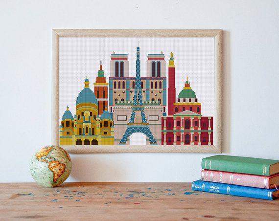 Voyage de Paris monuments de croix au point de modèle, au point de croix moderne, architecture Paris croix modèle de point, point, pdf de croix