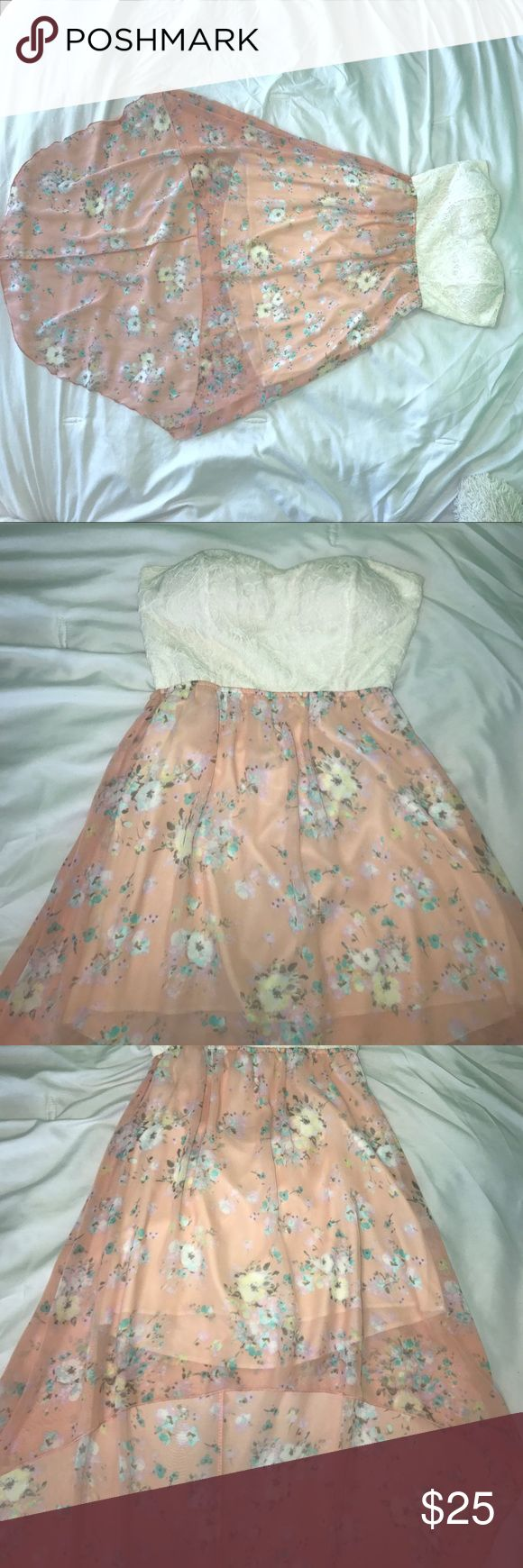 Strapless dress with lace top and floral skirt  Barely worn and in perfect condition  love this dress because it can be dressed up with a necklace and heels for a formal event, and dressed down with sandals and a denim jacket for casual wear  hope you guys like it! Lord & Taylor Dresses