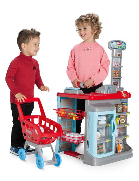 Play pretend with this supermarket and trolley.
