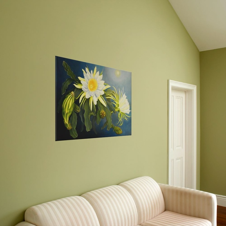 wrapped canvas print of original oil painting by Janet Summers  Night Blooming Cereus