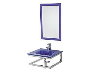 Composizione sospesa in acciaio e vetro con specchio viola - 50X22X47 cm