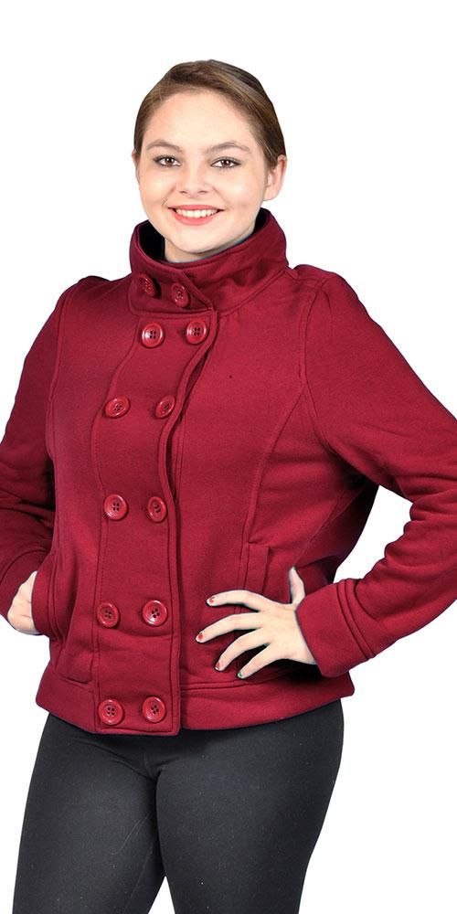 4a90e62c805 Women s Plus Size Fleece Double Buttons Jacket Side Pockets BurgundyWomen s Plus  Size Fleece Double Buttons Jacket