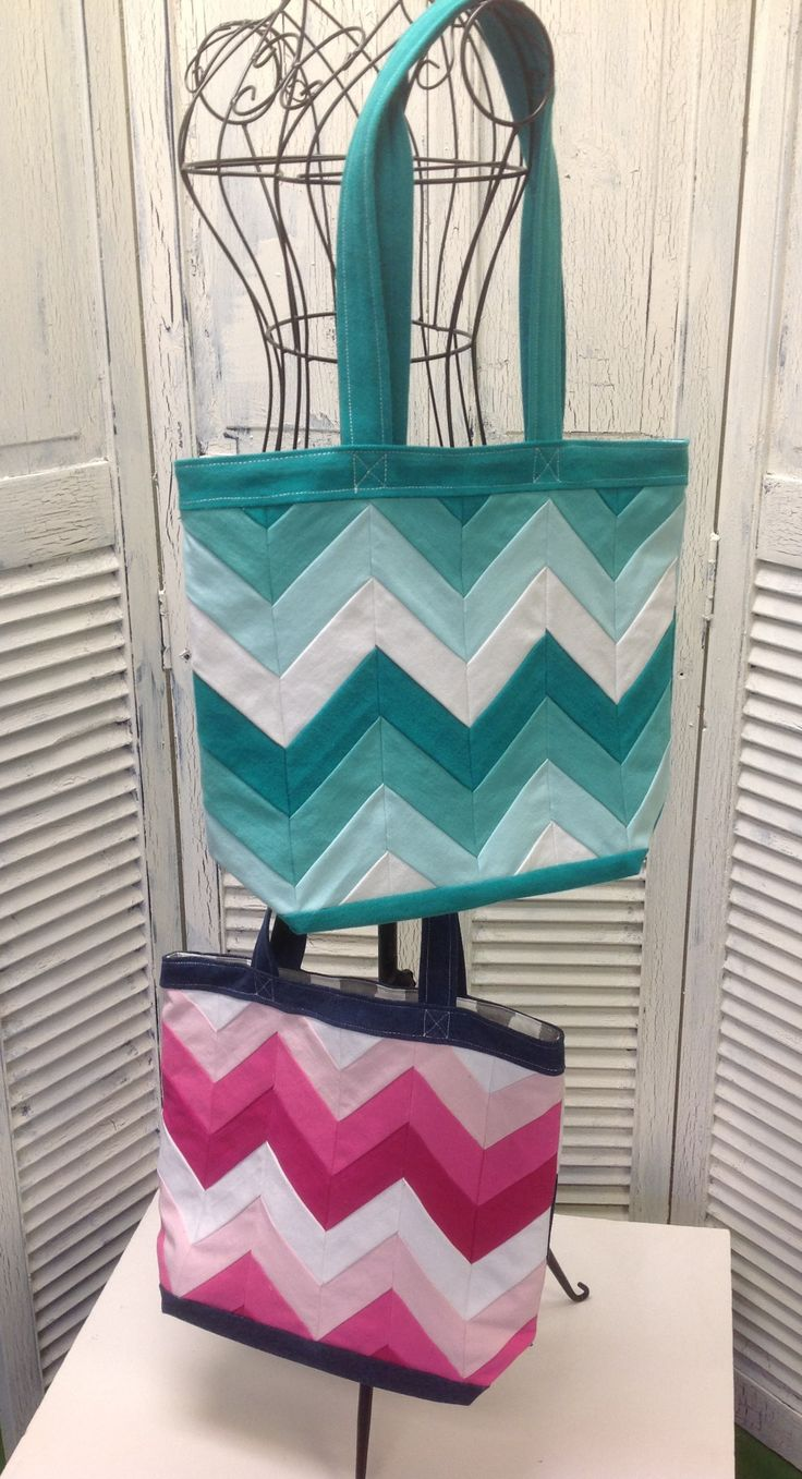 Bleu Redux (Colors too!) Upcycled Four Chevron Tote by GrandmaRietas on Etsy