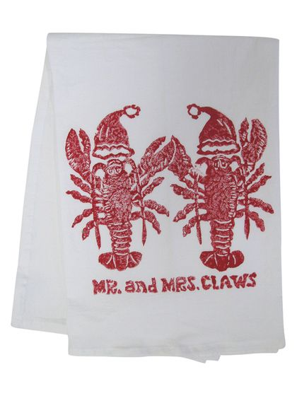 two lobsters holding claws