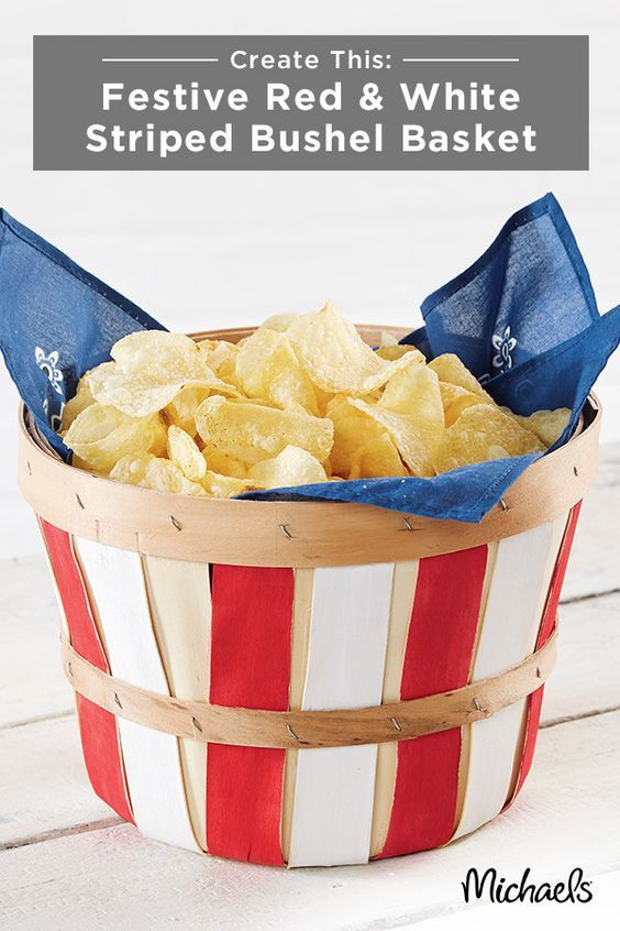 Serve your chips in a festive red and white striped bushel basket this Memorial Day! The bucket is a fun alternative to your average chip bowl, and easy to make! First, paint the vertical panels on the bushel baskets, alternating with red and white. Let dry. Next, line the inside of the basket with a clean bandana. Finally, fill with chips and serve! Find everything you need for this fun craft at Michaels.