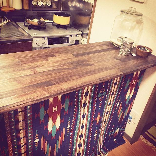 憧れのキッチンカウンター カラーボックスのdiyアイデア カウンターテーブル Diy キッチンカウンター 古い キッチン