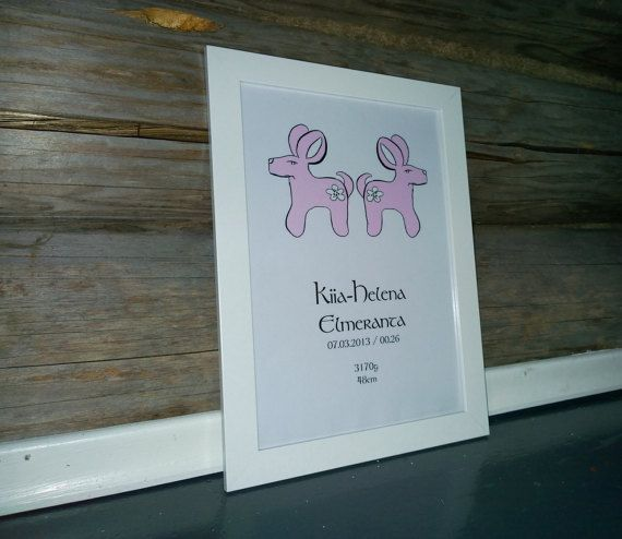 baby pink birth announcement wall art by MayaDesignFinland on Etsy