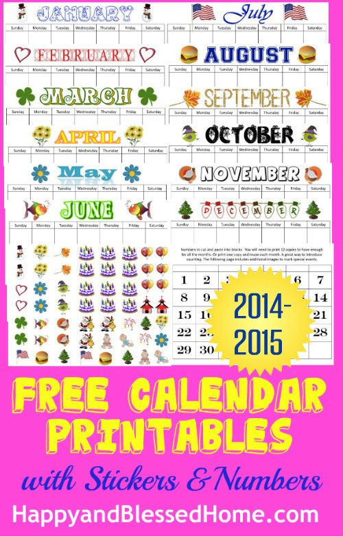 Super cute and fun Calendar printables with FREE Calendar Stickers and a traceable version. Perfect for back to school and teaching young children. From HappyandBlessedHome.com