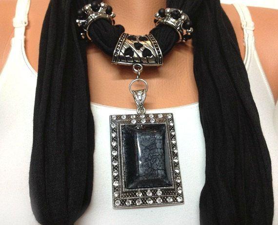 black jewelry scarf unique soft black jewelry scarf por BienBijou