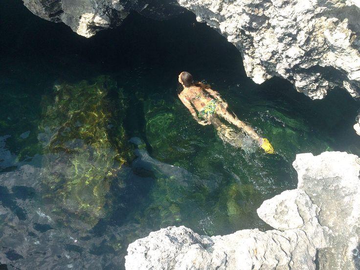 This is the nature pool in the west coast of Crimea, Russia Black Sea #crimea #girl #water #sea #blacksea #swimming #Swimsuit #summer #nature