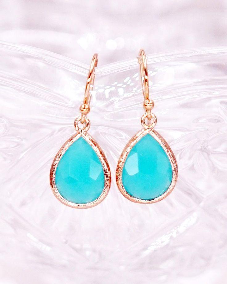 Mint Opal Teardrop Earrings in Rose Gold, Simple Bridesmaid Earrings, Gifts for her, Bridal wedding jewelry gifts, www.glitzandlove.com