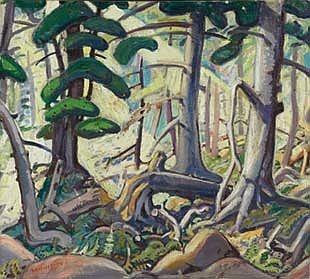"Arthur Lismer - ""Sunlight in a Wood, 1930"""