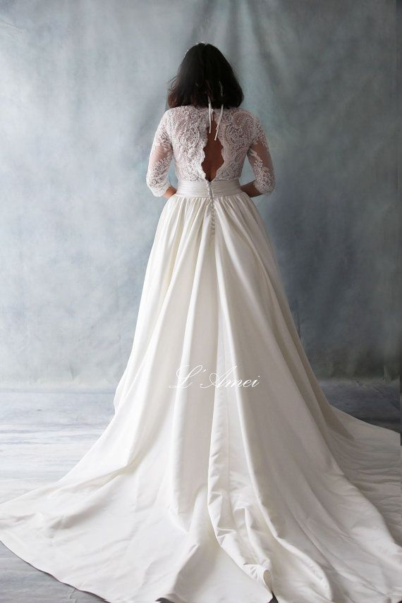 Custom Made France Lace Classical Blush Wedding Gown with by LAmei