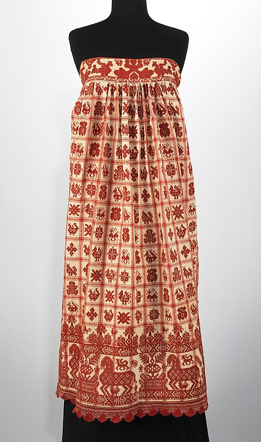 Russian apron, 1830-70. Brooklyn Museum Costume Collection at The Metropolitan Museum of Art