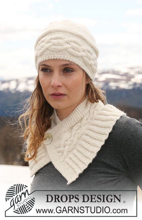 "DROPS hat with cables and neck warmer with cables and buttoned at front in ""Classic Alpaca"". ~ DROPS Design"