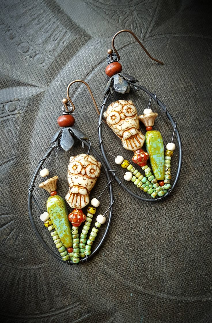 Blossom Series, Flowers, Wire Wrapped, Hoops, Artisan Made, Cactus, Southwest, Owls, Barn Owls, Organic, Rustic,Unique, Beaded Earrings by YuccaBloom on Etsy