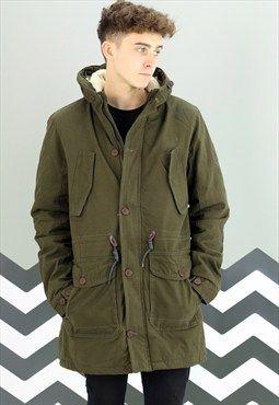 Mens New Fleece Lined Green Fishtail Parker Jacket Coat