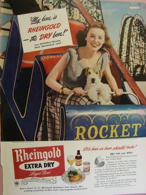 CURIOSITA' SULLA BIRRA Il proprietario della Rheingold Beer, Michaele Fallon, chiese alla sua segretaria Miss Rheingold di portare il suo amato cane Rocket a spasso. La signora lo portò sull'ottovolante di un parco giochi e vedendo il suo cane così felice decise di chiamare la birra Rheingold in omaggio alla sua dipendente. Ma questa non è la sola curiosità. Al cane Rocket fu dedicato un'ottovolante abbattuto nel 1979 in Virginia.