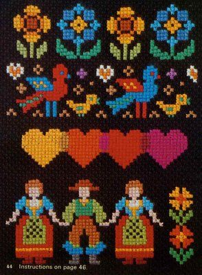 Beautiful folk inspiration for a #lego #mosaic // doe-c-doe: 1976 ondori simple cross stitch book