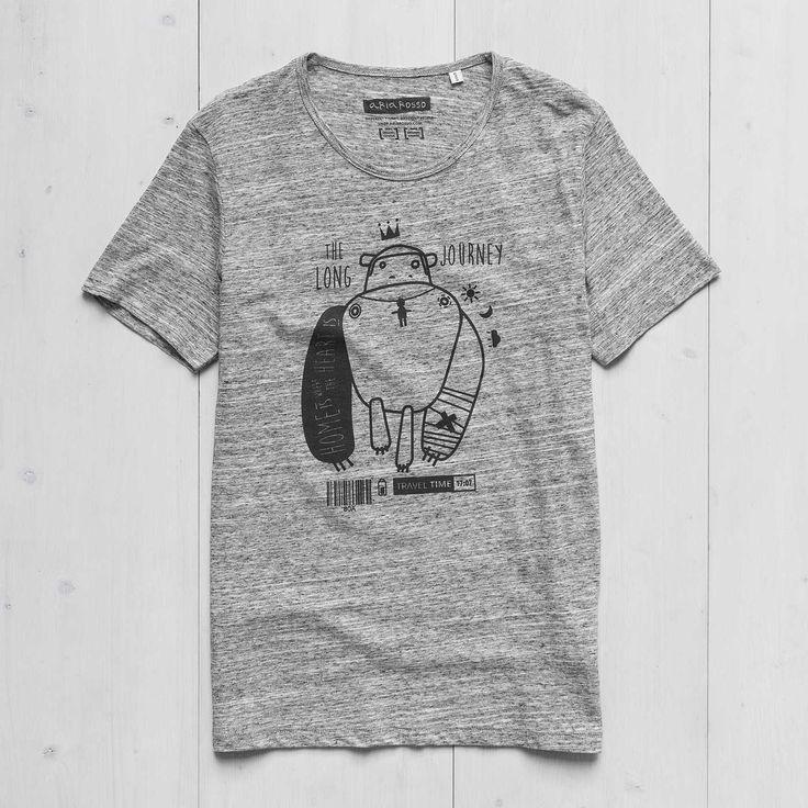 Men's Printed T-shirt slub heather grey cotton Monkey Tattoo Ariarosso