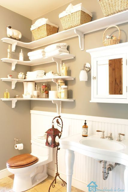 Remodelando la Casa: A Charming Cottage Shelves above toilet #Repurposedfurnitur…   – House ideas