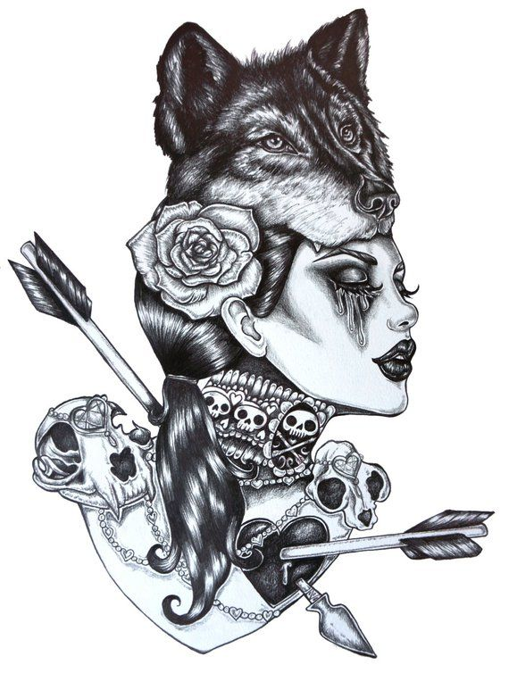 Lone Wolf  – Archival Print 12×16  inches  Dark Gothic Art Pin Up Tattoo Wolfs Head Arrows Heats Sku