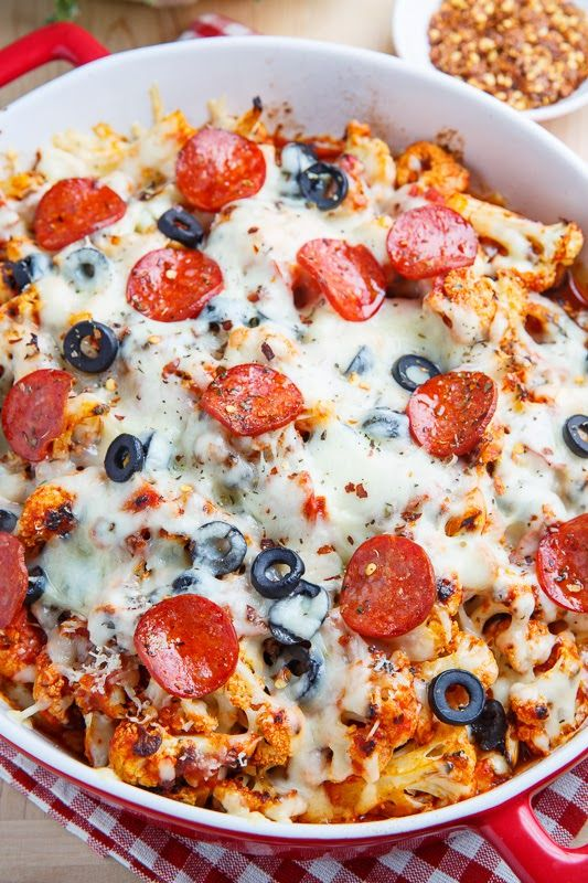 Cauliflower Pepperoni Pizza Casserole - just throw in some more veggies!
