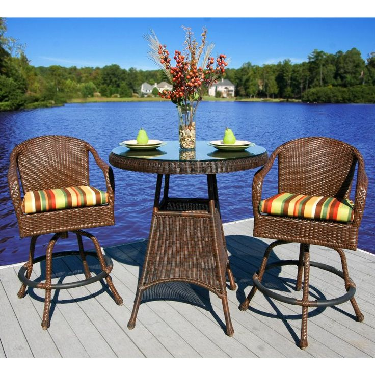 Outdoor Tortuga Lexington Bar Height Patio Bistro Set Montfleuri Sangria - LEX-BAR4-M MONTF
