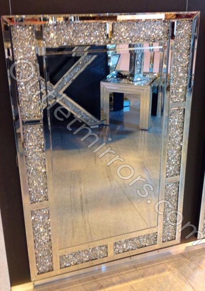 Diamond Crush Sparkle Bricks Crystal Wall Mirror 120cm X 80cm Item