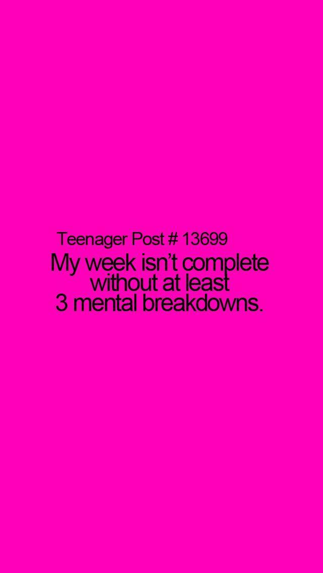 Monday: mental breakdown ☑ Tuesday: mental breakdown ☑ Wednesday: mental breakdown ☑