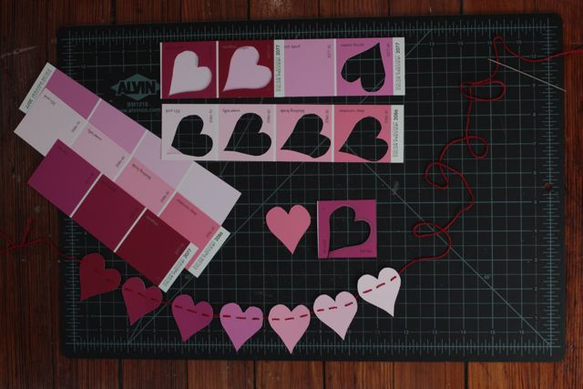 paint sample valentine garland. how darling.